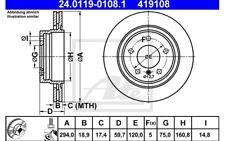 ATE Juego de 2 discos freno Trasero 294mm ventilado para BMW Serie 3