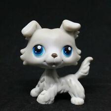 #363 Rare Littlest Pet Shop Grey Collie Dog Puppy Blue Eyes Animal LPS Toy