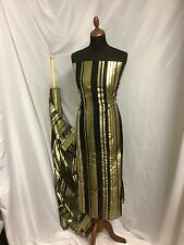 "NEW Designer Multi Colour Silk Chiffon Stripe Burnout Gold Foil Fabric 46"" 143cm"