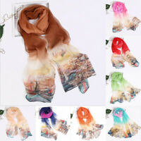 New Fashion Summer Women Sailboat Printing Long Soft Wrap Scarf Shawl Scarves