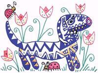 Blue Tan Dachshund in the Tulips Pop Folk Art Print 8 x 10 Dog Collectible KSams