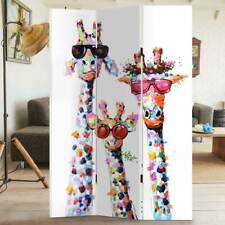 Paravento Separe' 3 Pannelli Con Stampa Fronte Retro Giraffe Divisorio 180x120