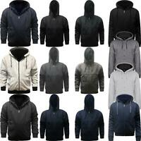 New Mens Fur Lined Winter Plain Hoodie Jacket Thick Sherpa Fleece Hooded Zip Top