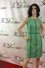 New Boden Women's 8 Medium Green White Geometric Wool Stretch Sheath Dress M