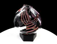 "MURANO ITALY ART GLASS RED WHITE & DARK AMETHYST STRIPED 5 5/8"" PINCHED VASE"