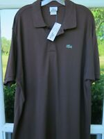 Lacoste Men's All Cotton Brown Pullover Polo Shirt Euro 8 XXL 2XL France NWT NEW