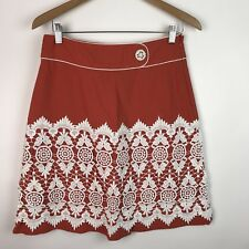 Floreat Anthropologie Womens Walled City Orange Cotton & Crocheted Skirt 6 AM35