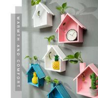2xWooden Haus Form Vogel Regal Display Wandbehang Kiste Shel