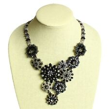"NE504 Glamour Czech Crystals Glass Beads Button 22"" Necklace Black Magnet Clasp"