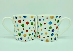 "Pair of Large 1pt Bone China Mugs In the ""Polka Dot"" Design"