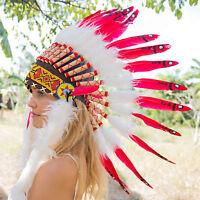 INDIANER FEDERHAUBE Federschmuck,kostüm,kopfschmuck,Fasching,Halloween,warbonnet