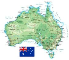 Large High High detailed Australia  with labeling Quality  poster Educational