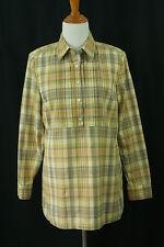 Banana Republic Womens M Tunic Top Blouse Shirt Yellow Plaid Camp Pin Medium