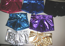 Girls Metallic Shorts Dance Sports Gymnastics Booty Style Soft Shiny Sizes 4-12