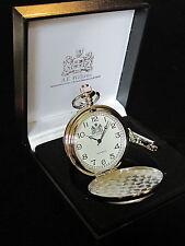 RAMBLER Andante Inglés Peltre Con Caras PULIDO Reloj De Bolsillo & Cadena Y CAJA