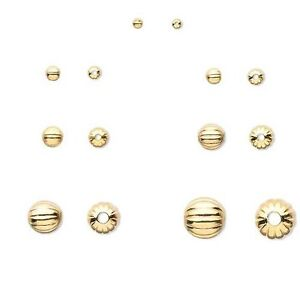 20 Gold Plated Brass Fluted Corrugated Round Jewelry Spacer Beads Small - Big