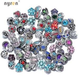 20pcs/lot Mixed Rhinestone Styles 12mm Metal Snap Button Fit Snaps Jewelry