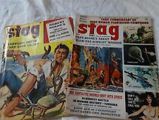 Vintage Lot of 2 - STAG Mens Magazines 1955 -1963 Cool Stories RISKY Adventure