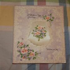 Vintage Mother's Day Card, Unmarked 258503, Dated 1950 Flowery Satin Pillow Puff