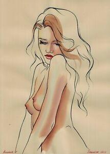original painting 29,5 x 41 cm 219BK art samovar Watercolor Realism female nude