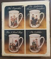Norman Rockwell Museum Collection 1982 Coffee Mugs Cups Set Of 4.