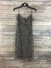 J. Crew Women's Gray W/Gold Lace Sleeveless Dress Size 2