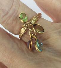 Handmade Gem Charm Wrap Ring Size 5 Ame,Top,Per & Smk Qtz