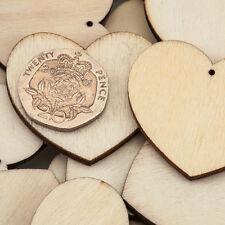 30 pièces 35mm Uni Coeur en Bois avec trou Décorations De Carte LOISIRS CRÉATIFS