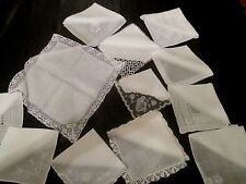 Lot 12 Vintage White Wedding Lace, tatted lace & Embroidered hankies