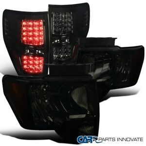 For 2009-2014 Ford F150 F-150 Pickup Smoke Headlights+Tinted LED Tail Lamps Pair