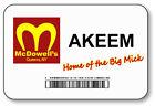 AKEEM COMING TO AMERICA MCDOWELLS BIG MICK NAME BADGE HALLOWEEN PROP PIN BACK