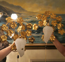 2 Vintage Murano Opaline Grape Glass tole Sconce lamp Florentine Italy goldleaf