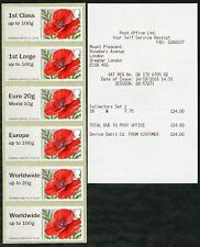 NEW! NCR TYPE IIA MA16 POPPY COLLECTOR SET/6 POPPIES 1st DAY 2016 POST & GO