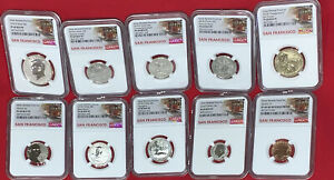 2018-S U.S. Silver Reverse Proof Set 10pc. NGC PF 69 REV PF Trolley Label