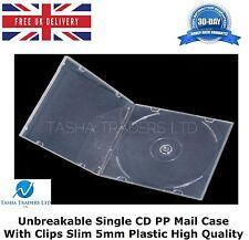 20 INFRANGIBILE SINGOLO CD posta PP Custodia con clip SLIM 5mm in plastica di alta qualità