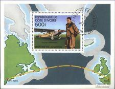 côte d'ivoire Bloc 7 oblitéré 1977 Histoire le Aviation