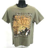 Sturgis Bike Week 2007 Tee T-Shirt Mens Size M Medium Faded Green Short Sleeve