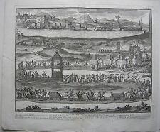 China Pompe Funebre Könige von Tunquin Elefanten Orig Kupferstich Picard 1729