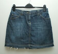 White Stuff denim skirt size 10 short mini buckle raw hem dark indigo blue