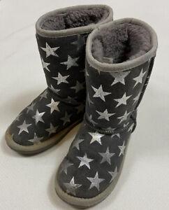 Emu Australia Boots 12 Gray Silver Star Print Sheep Skin Starry Night