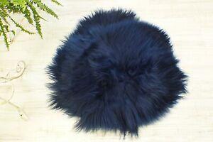 Round NAVY BLUE Sheepskin Rug. Natural Fur Bedroom Rug. Real Sheepskin Carpet