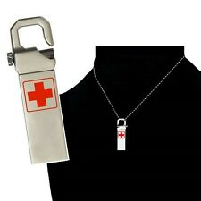 8 GB Medical Records Alert Necklace Keychain USB Flash for All Windows Versions