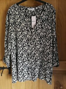 Dorothy Perkins Black White Floral Print Tunic Top Size 16 NEW With Tags
