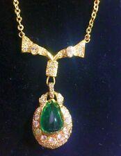 7.56 ct cabochon Emerald/Diamonds 18K  Gold Pendant Necklace  UGL / AGL CERT 47K