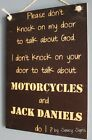 No Soliciting God Motorcycles and Jack Daniels Door Sign - Biker Harley Davidson