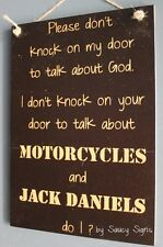 No Soliciting God Motorcycles and Jack Daniels Door Sign - Biker Harley Davidson