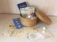 Chic Round wicker sewing basket with Vintage buttons 12 partial boards and snaps