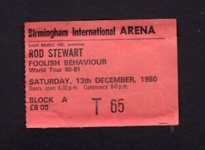 1980 Rod Stewart concert ticket stub Birmingham UK Foolish Behaviour