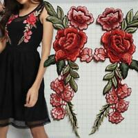 2x Embroidery Red Rose Flower Sew Iron On Patch Badge-Clothes Fabric Applique ge