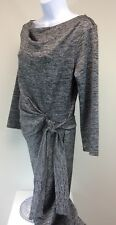 Women's Ann Taylor Dress Size MT Polyester Faux Wrap Silver Knit